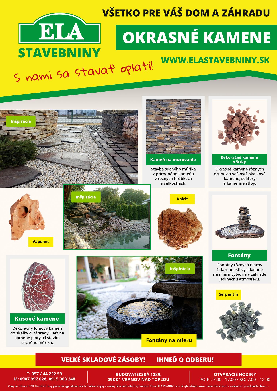 Dekoračné, okrasné kamene - Ela stavebniny Vranov n.T.